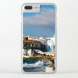 Seaside Cafe on Mykonos Island Greece Clear iPhone Case