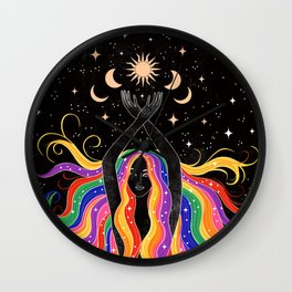 Rainbow Goddess Wall Clock