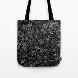 Crazy monsters in a crowded pattern Tote Bag