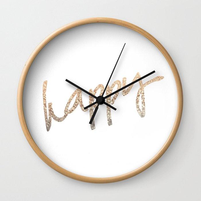 GOLD HAPPY Wall Clock