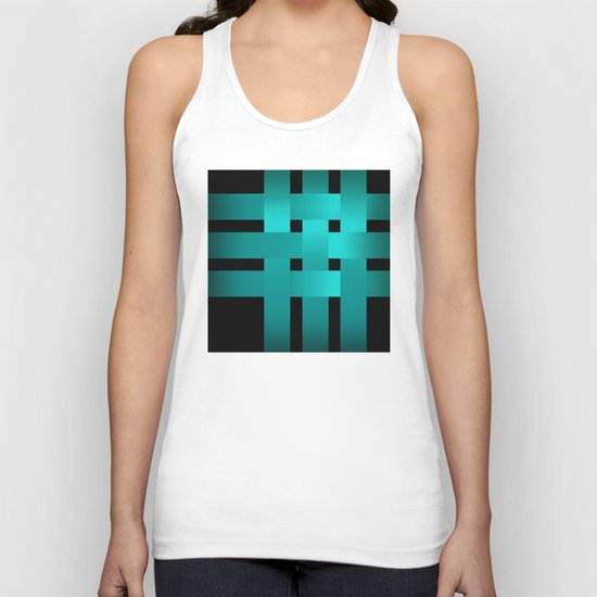 Abstraction .Weave turquoise satin ribbons . Patchwork . Unisex Tank Top