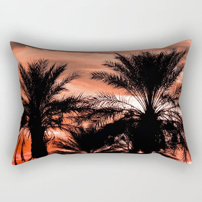 Palm Sunset Rectangular Pillow