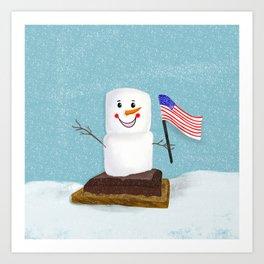 Patriotic S'mores Sledding In Winter Art Print
