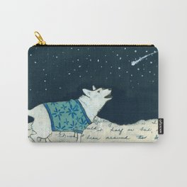 Dog in Sweater Barking at Stars Carry-All Pouch