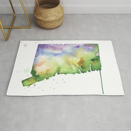 Connecticut Watercolor Map - State Map Art - Watercolor Maps Rug