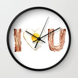 Bacon and Egg LOVE I Heart You Food Lovers Wall Clock