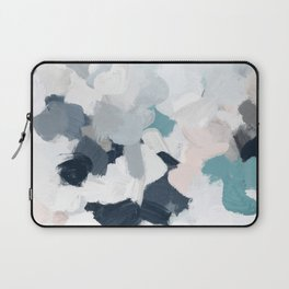 Navy Indigo Blue Blush Pink Gray Mint Abstract Air Clouds Art Sky Painting Laptop Sleeve