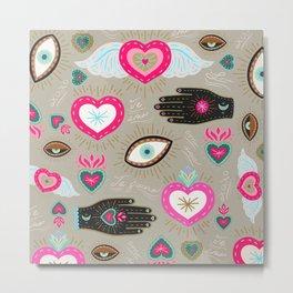 Milagro Hearts - Pink Metal Print
