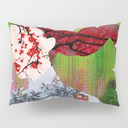 Asian Flower Woman Red Japanese Japan Print Woman Abstract Surreal Flowers Floral Gift Idea Apparel Pillow Sham