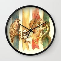 house Wall Clocks featuring House Brawl by Alice X. Zhang