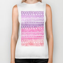 Geometric hand drawn abstract white aztec modern summer pink purple coral ombre watercolor pattern Biker Tank