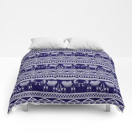White and Navy Blue Elephant Pattern Comforters