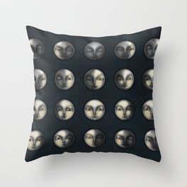 moon phases and textured darkness Throw Pillow