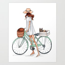 Fashionista with Bike and Dog Art Print