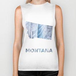 Montana map outline Light steel blue clouded wash drawing Biker Tank