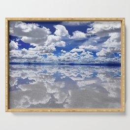 Salar de Uyuni, Bolivia Salt Flats Mirrored Lake with clouds color photography / photographs Serving Tray