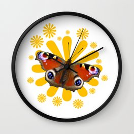 Peacock (inachis io) butterfly Wall Clock