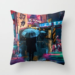 Japan street night Throw Pillow