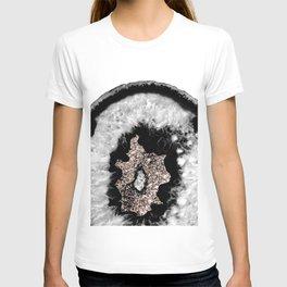 Gray Black White Agate Glitter Glamor #5 #gem #decor #art #society6 T-shirt