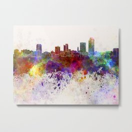 Little Rock skyline in watercolor background Metal Print
