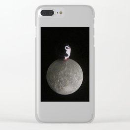 Neil the Moon Penguin Clear iPhone Case