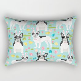 French Bulldog easter spring dog breed gifts pure breed frenchies black and white coat Rectangular Pillow
