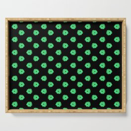 Green flowers on black Serving Tray