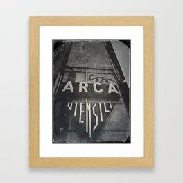 Bologna B&W Street Photography Vintage Shop Sign Framed Art Print
