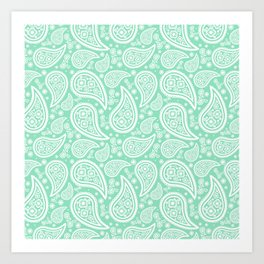Paisley (White & Mint Pattern) Art Print