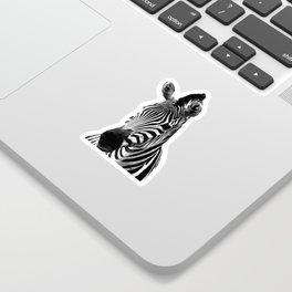 Black and white zebra illustration Sticker
