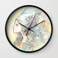 zodiac Wall Clocks featuring Zodiac - Aquarius by Hellobaby