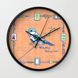 Sparrow Mahjong in Orange Wall Clock