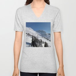 Mountains color palette of white-black-blue Unisex V-Neck