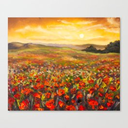 Field of red poppies at sunset in valley of mountains Original flowers oil painting on canvas. Impre Canvas Print
