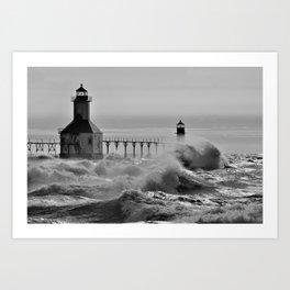 Lake Michigan's Fury - St. Joseph Lighthouses Art Print