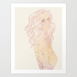 pastel soft portrait of girl with tattoos Art Print