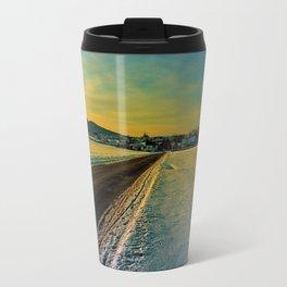 Winter road into dusk | landscape photography Travel Mug