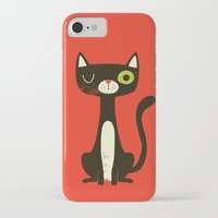 black cat iPhone & iPod Cases featuring Black Cat by Monster Riot