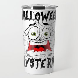 Halloween Hysteria Spider Web Screaming Face Light Travel Mug