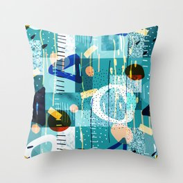 Abstract colorful geometric shapes collage Throw Pillow