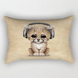 Cute Cheetah Cub Dj Wearing Headphones Rectangular Pillow