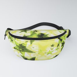 Metallic solar glowing dark golden stars on a light background in the projection. Fanny Pack