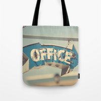 the office Tote Bags featuring Office by bomobob