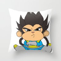 vegeta Throw Pillows featuring Monkey Vegeta by Kame Nico