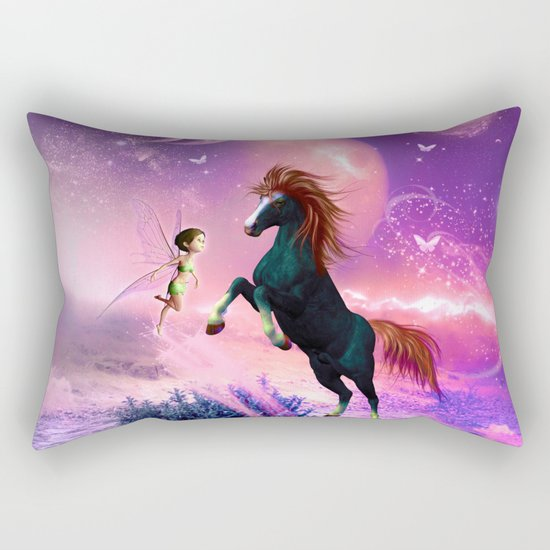Horse with cute fairy  Rectangular Pillow