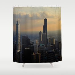 The Skyline at Dusk: From the Hancock (Chicago Architecture Collection) Shower Curtain
