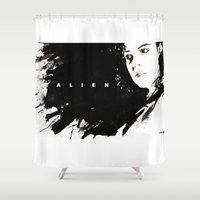 ripley Shower Curtains featuring Alien by jgart