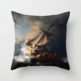 Rembrandt's The Storm on the Sea of Galilee Throw Pillow