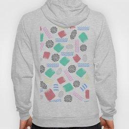 Geometrical pink teal black Memphis 80's pattern Hoody