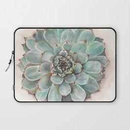 Soft Green Succulent flower Rosette_gouache painting_hand painted Laptop Sleeve